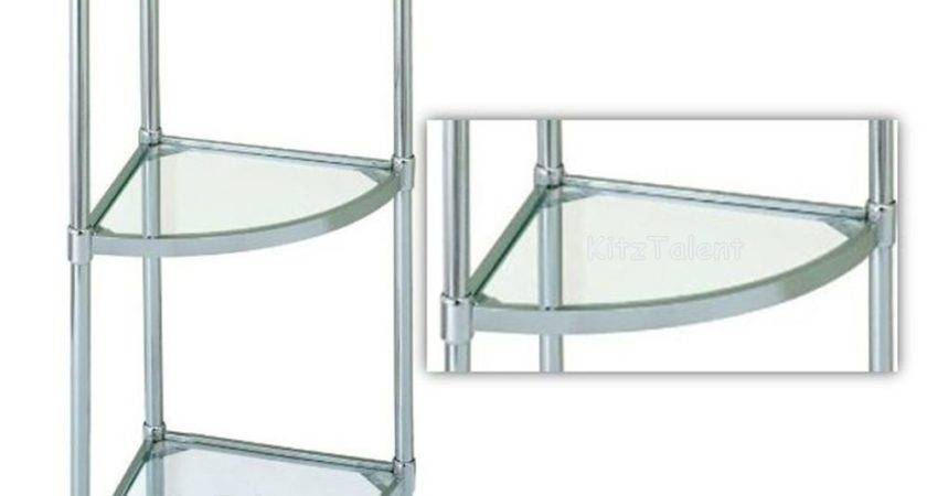 Corner Glass Shelves Stand Shelf Tier Rack Chrome Home