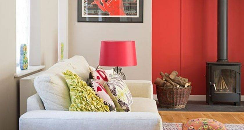 Cosy Living Room Red Feature Wall