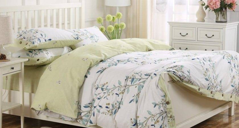 Cotton Floral Printed King Queen Green French Style