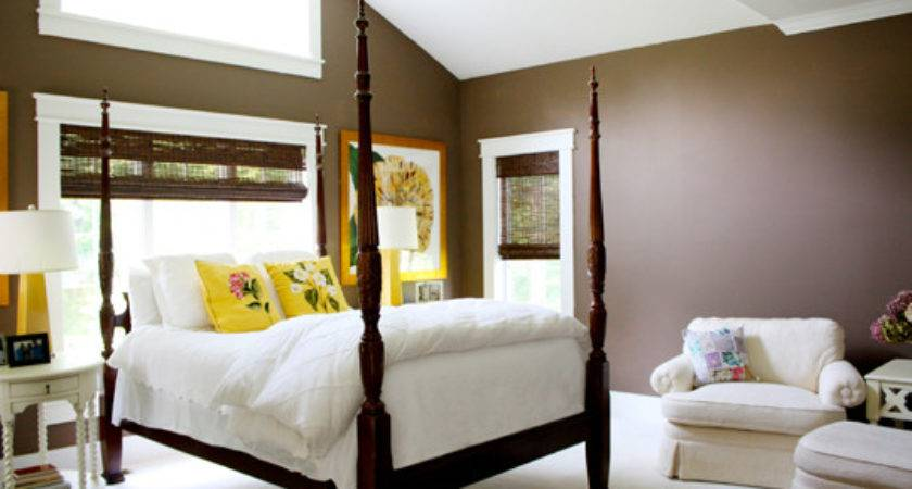 Country House Brown Yellow Master Bedroom Mix