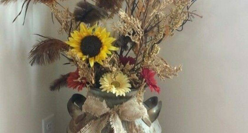 Country Rustic Decor Milk Can Fall Flowers Burlap