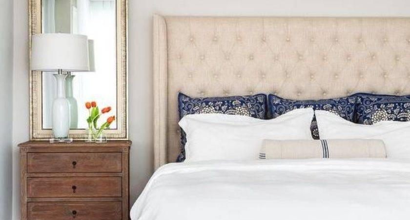 Cream Blue Bedroom Ideas Transitional