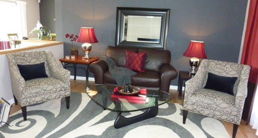 Cream Living Room Red Accents Neutral