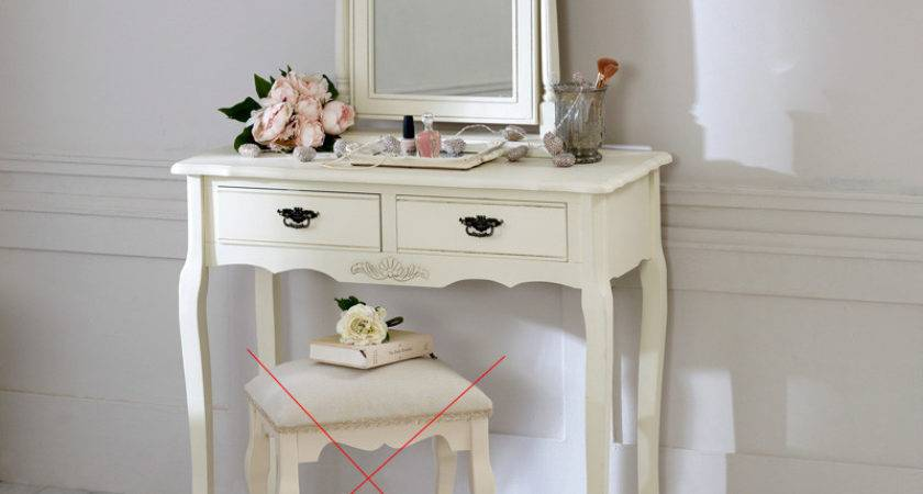 Cream Wood Dressing Table Mirror Set Shabby French Chic