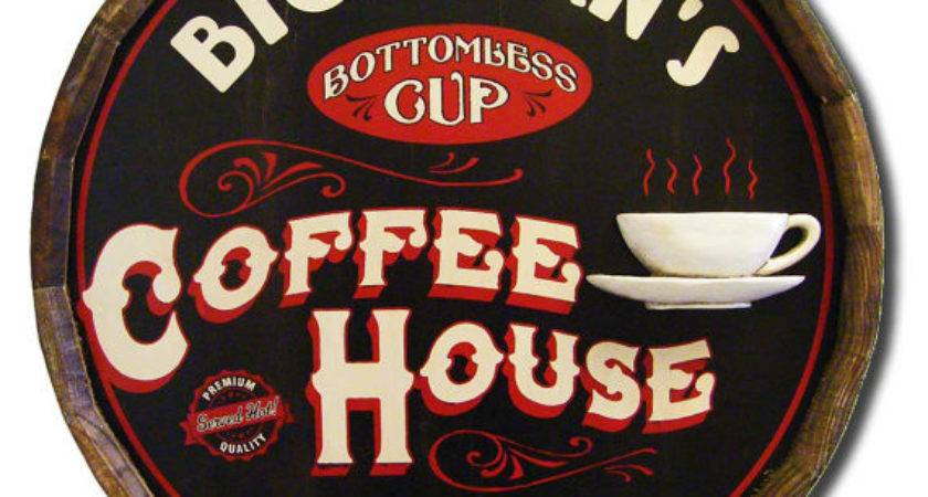 Custom Coffee House Quarter Barrel Wood Bar Sign