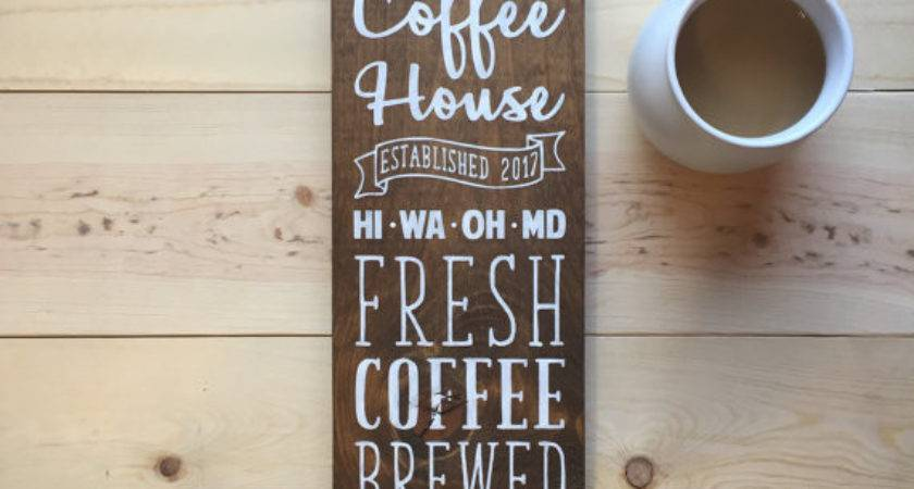 Custom Coffee House Sign Last Name Established Year