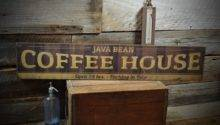 Custom Coffee House Sign Primitive Rustic Hand Made