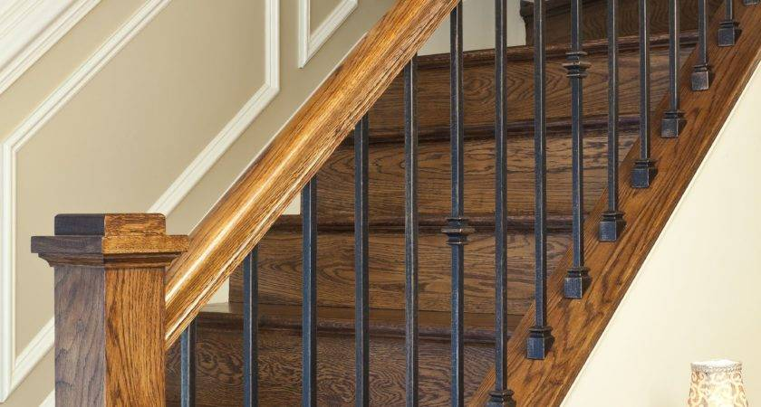 Custom Fabricated Wrought Iron Spindles Stained Rail
