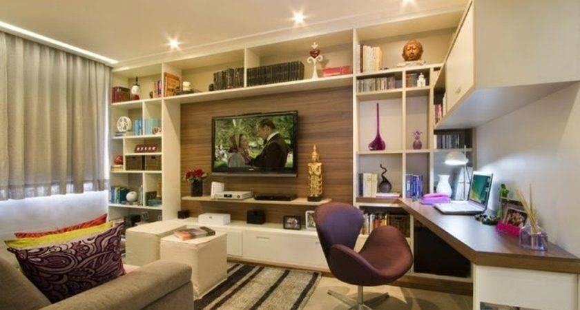 Cute Home Office Combined Small Apartment Living Room
