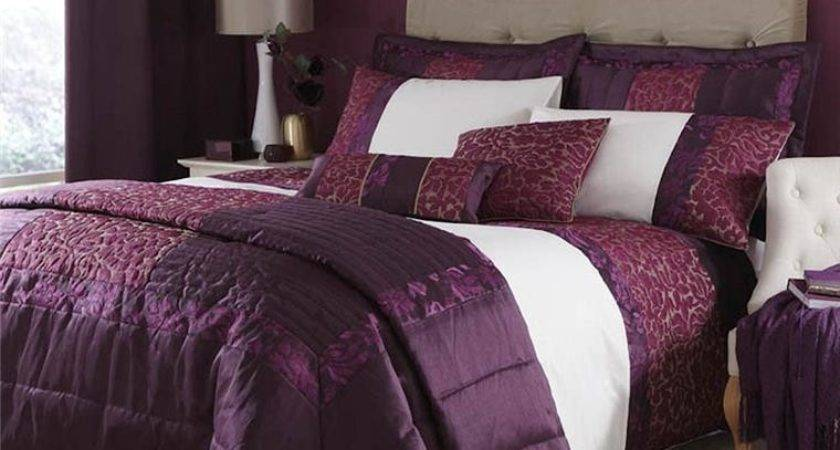 Damask Plum Purple Quilted Gold Bedding Duvet Quilt Set