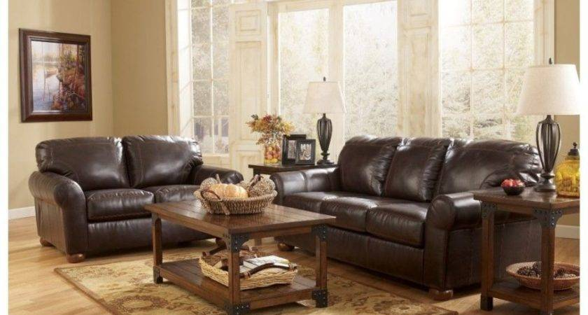 Dark Brown Leather Sofa Rectangle Wooden Table