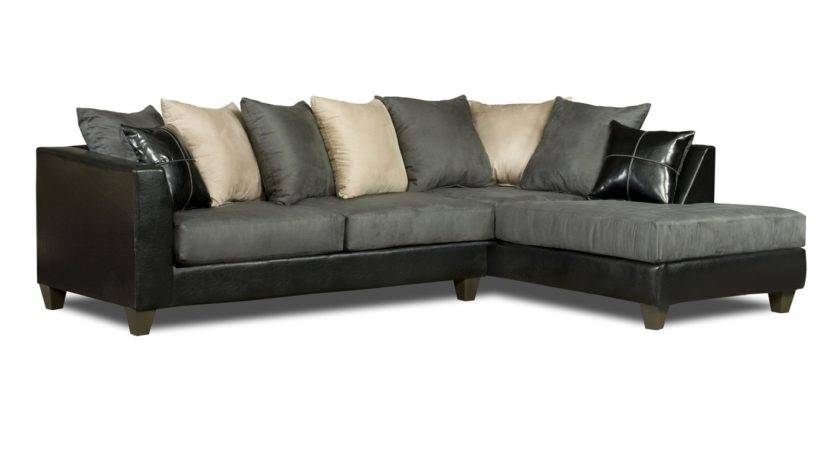 Dark Grey Microfiber Sectional Sofa Chaise