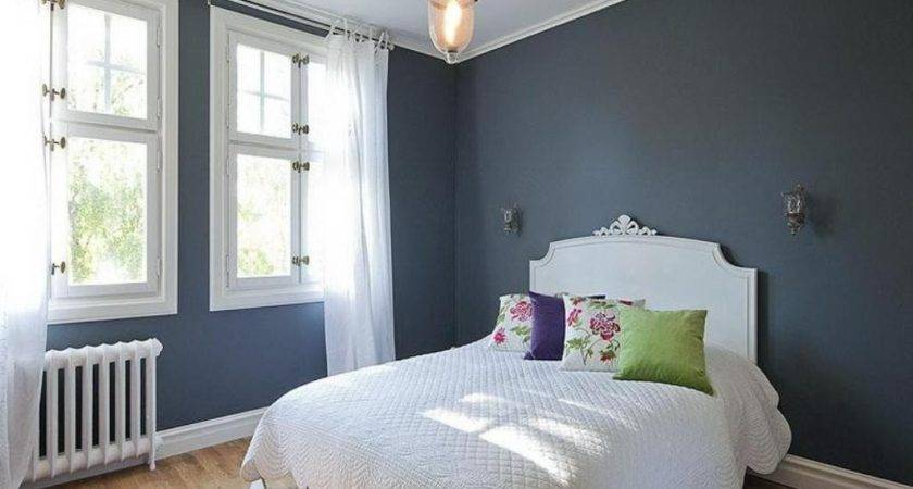 Dark Grey Wall Color White Curtain Classic
