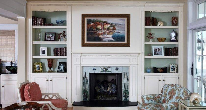 Decorating Ideas Bookcases Fireplace Living Room