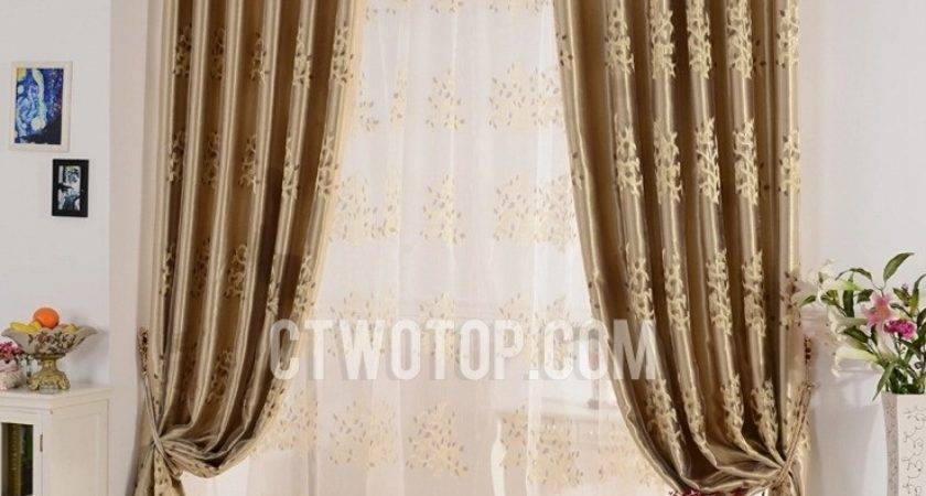 Decorative Blackout Living Room Brown Yellow Curtains