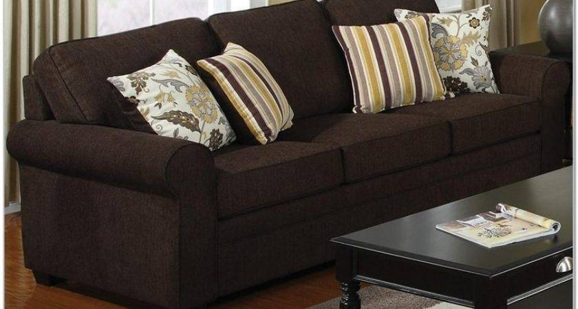 Decorative Pillows Dark Brown Sofa