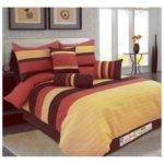 Diamond Jacquard Striped Comforter Set Coffee Brown
