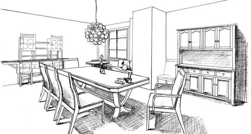 Dining Room Drawing Sketch Coloring