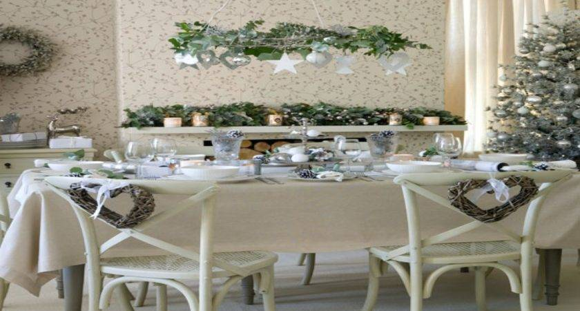 Dining Room Table Christmas Decor Vintage White