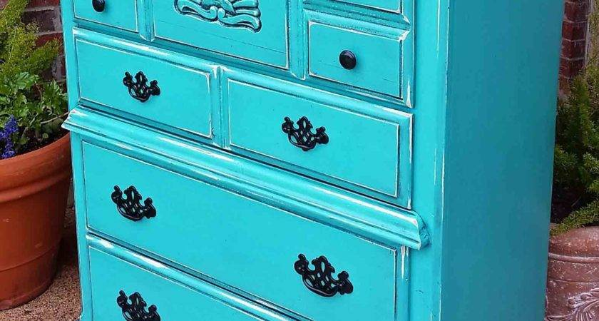 Distressed Turquoise Chest Drawers Black Glaze