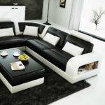 Divani Casa Modern Black White Bonded Leather