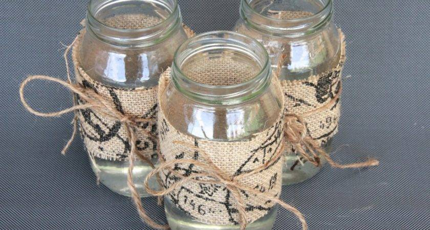 Diy Centrepiece Ideas Glass Jars Decorated Burlap