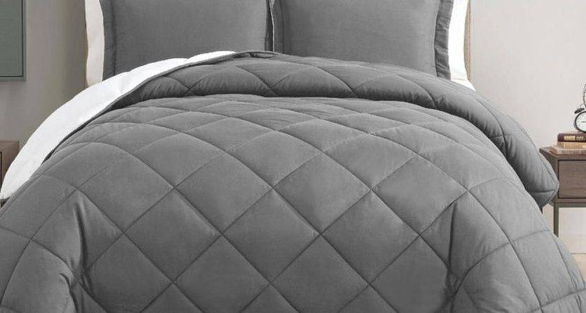 Down Alternative Piece Reversible Comforter Set Gray