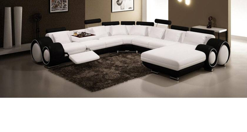 Dreamfurniture Black White Leather Sectional Sofa