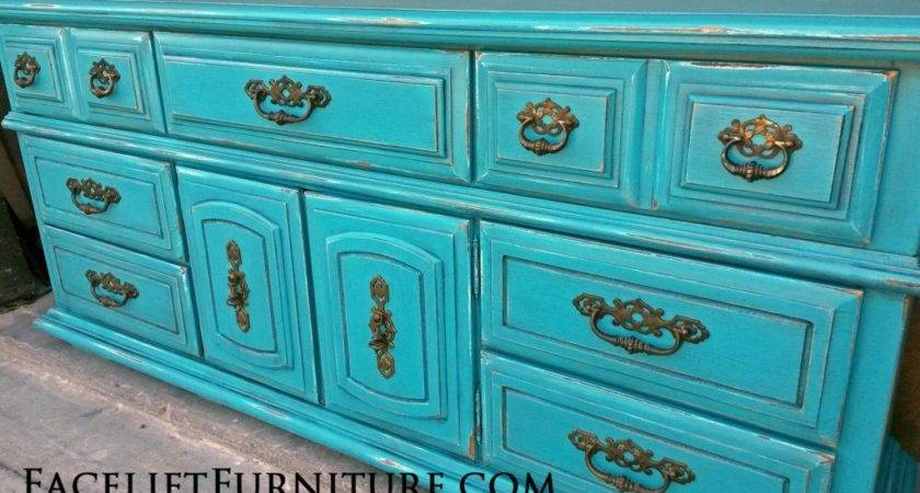Dresser Distressed Turquoise Black Glaze Before