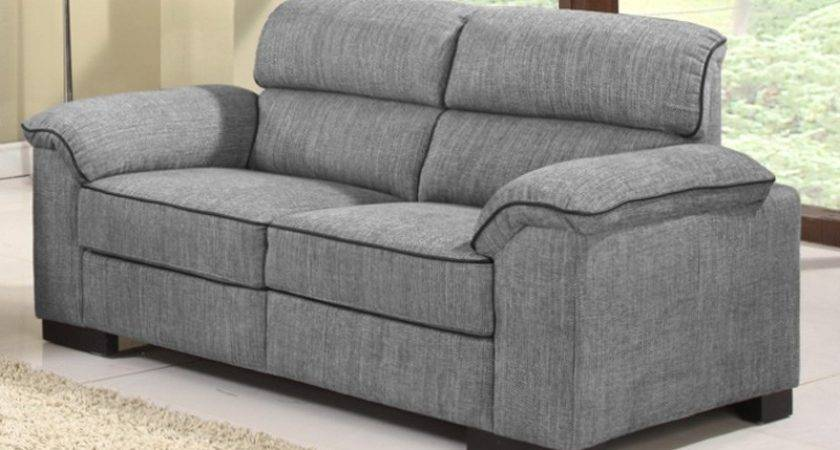 Ealing Two Tone Mid Grey Fabric Sofa Collection Black