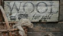 Early Looking Antique Primitive Wool Sale Wooden Sign