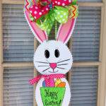 Easter Bunny Door Hanger Spring Decor Front