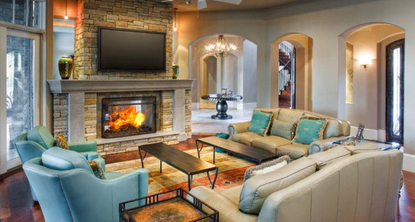 Eclectic Lake House Traditional Living Room Austin