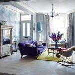 Eclectic Living Room Purple Sofa Decorating