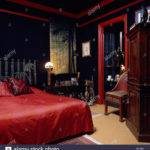 Eighties Bedroom Black Walls Red Bedcover