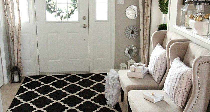 Elegant Neutral Christmas Foyer Setting Four