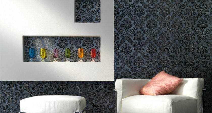 Embossed Tile Lounge Feature Wall Contemporary Living