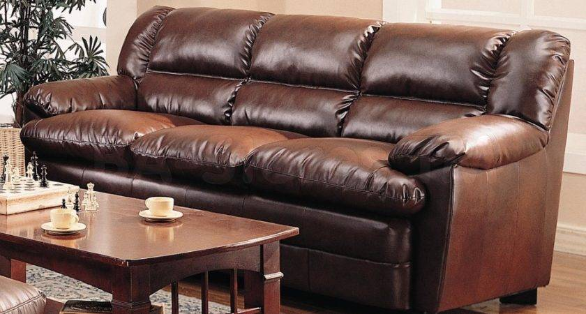 Espresso Three Seat Leather Couch Combined Rectangle