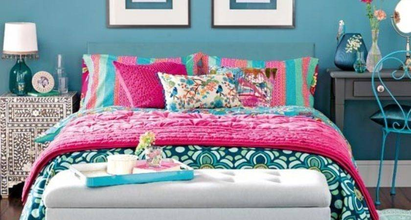 Exotic Teal Blue Bedroom Traditional Design