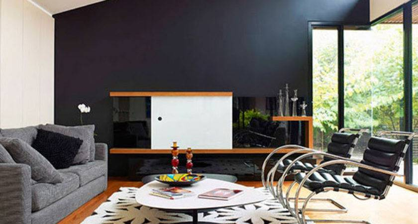 Exquisite Black Wall Interiors Modern Home