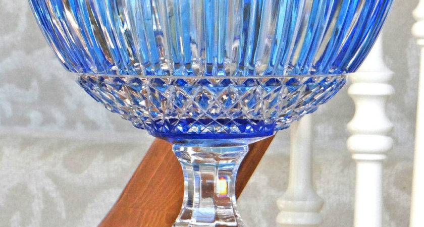 Faberge Xenia Pedestal Centerpiece Bowl Light Blue Cased