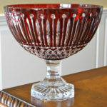 Faberge Xenia Pedestal Centerpiece Bowl Ruby Red Cased