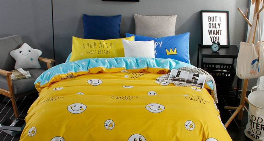 Fashion Bright Yellow Duvet Cover Set Pcs Bedding