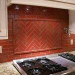 Faux Red Brick Backsplash Modern Kitchen Decoration