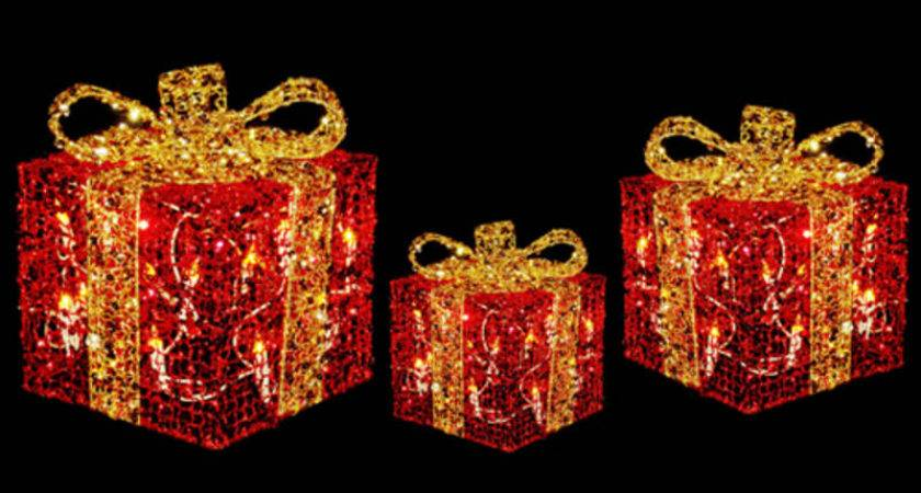 Festive Glittery Light Gift Boxes Christmas