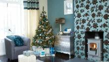 Festive Teal Silver Living Room Scheme Ideal Home