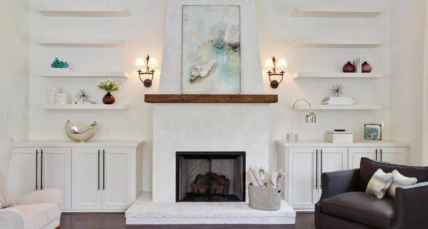 Fireplace Mantel Shelves Living Room Traditional Open