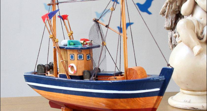 Fishing Boat Model Handcraft Wooden Sailing