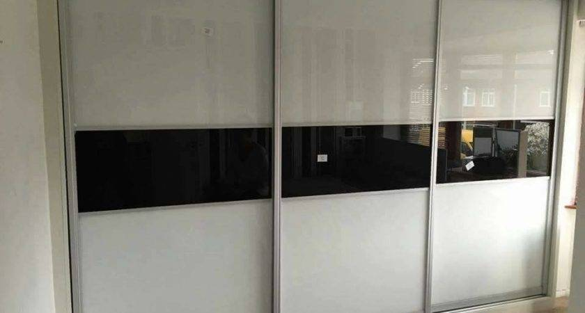 Fitted Wardrobes Design White Black Glass Panels