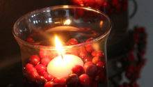 Floating Candles Fresh Cranberries Christmas Decor